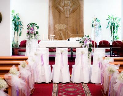 dekoracije u crkvi, gipsofila, aranžmani za crkvu, lila trake